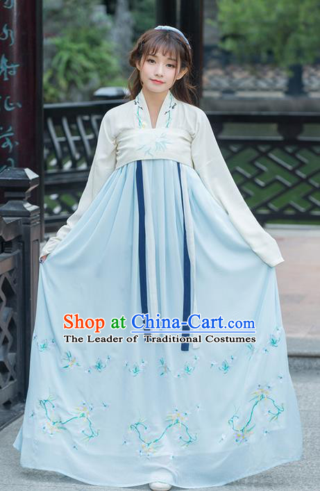 Traditional Ancient Chinese Young Lady Costume Embroidered Blouse and Blue Slip Skirt Complete Set, Elegant Hanfu Suits Clothing Chinese Tang Dynasty Imperial Princess Dress Clothing for Women