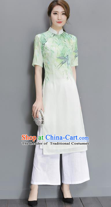 Traditional Ancient Chinese National Costume, Elegant Hanfu Mandarin Qipao Dress and Loose Pants Complete Set, China Tang Suit Chirpaur Republic of China Cheongsam Upper Outer Garment Elegant Dress Clothing for Women