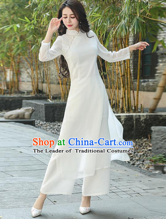 Traditional Ancient Chinese National Costume, Elegant Hanfu Mandarin Qipao White Ao Dai High Split Cheongsam Dress, China Tang Suit Upper Outer Garment Elegant Dress Clothing for Women