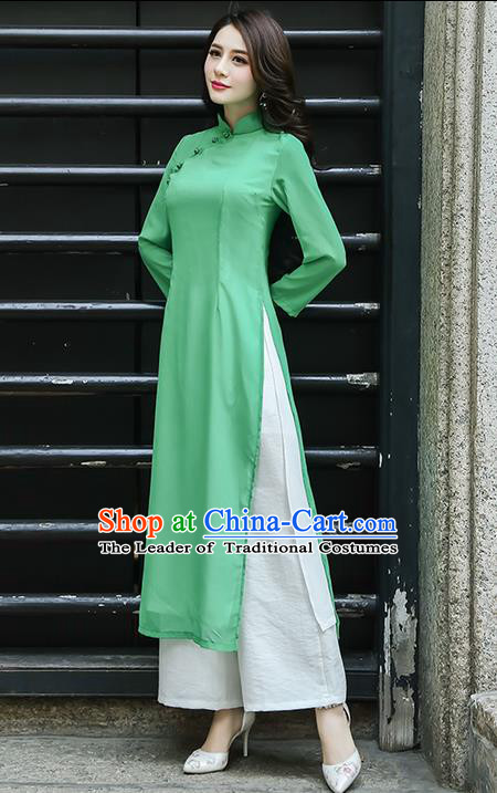 Traditional Ancient Chinese National Costume, Elegant Hanfu Mandarin Qipao Green Ao Dai High Split Cheongsam Dress, China Tang Suit Upper Outer Garment Elegant Dress Clothing for Women