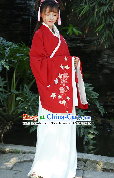 Traditional Ancient Chinese Young Lady Costume Printing Slant Opening Embroidered Cardigan Blouse and Slip Skirt Complete Set, Elegant Hanfu Suits Clothing Chinese Ming Dynasty Imperial Princess Dress Clothing for Women
