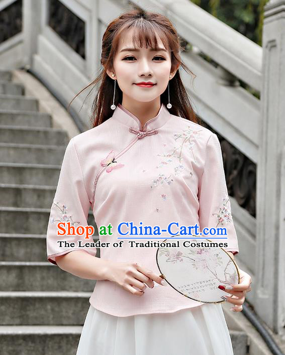 Traditional Chinese National Costume, Elegant Hanfu Embroidery Flowers Slant Opening Pink T-Shirt, China Tang Suit Republic of China Plated Buttons Chirpaur Blouse Cheong-sam Upper Outer Garment Qipao Shirts Clothing for Women