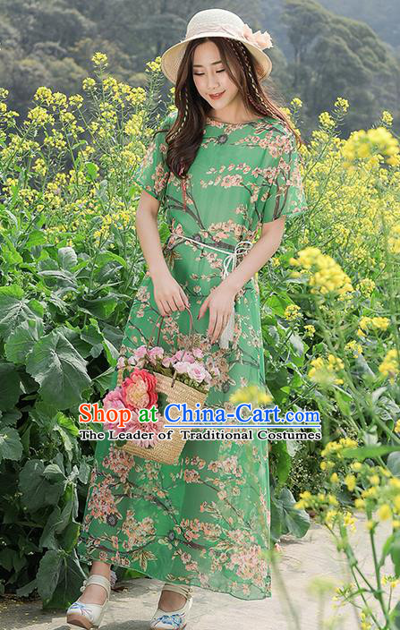 Traditional Ancient Chinese National Costume, Elegant Hanfu Qipao Printing Green Chiffon Dress, China Tang Suit Cheongsam Upper Outer Garment Elegant Dress Clothing for Women