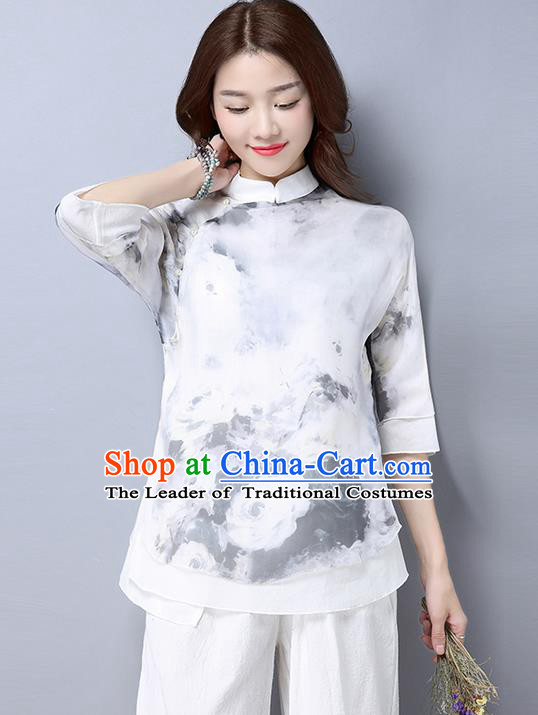 Traditional Chinese National Costume, Elegant Hanfu Printing Flowers Slant Opening White T-Shirt, China Tang Suit Republic of China Plated Buttons Chirpaur Blouse Cheong-sam Upper Outer Garment Qipao Shirts Clothing for Women