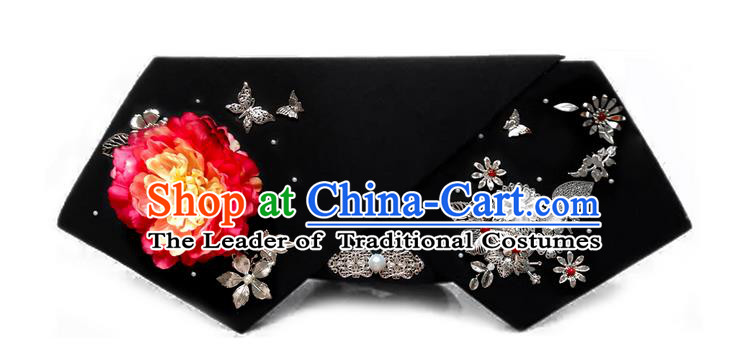 Traditional Ancient Chinese Hair Jewellery Accessories, Chinese Qing Dynasty Manchu Palace Lady Headwear Zhen Huan Big La fin Red Peony Flowers Headpiece, Chinese Mandarin Imperial Concubine Flag Head Hat Decoration Accessories for Women