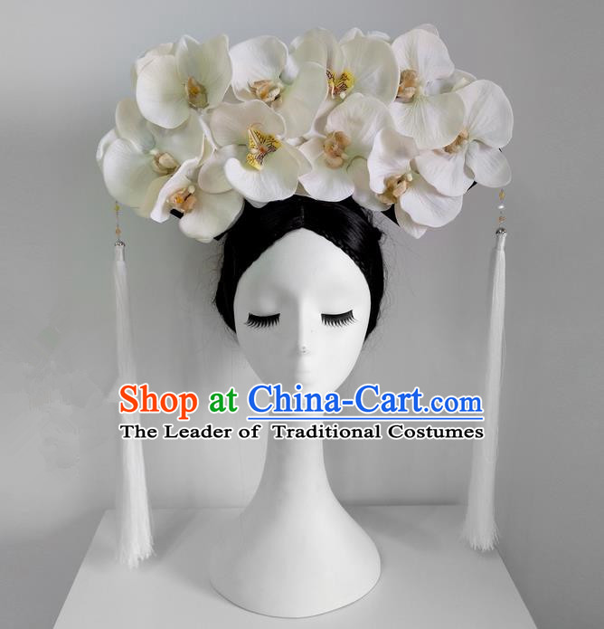Traditional Ancient Chinese Imperial Consort Hair Accessories, Chinese Handmade Qing Dynasty Manchu Palace Lady Phalaenopsis Flowers Headwear Big La fin Headpiece, Chinese Mandarin Imperial Concubine Flag Head Hat Decoration Accessories for Women