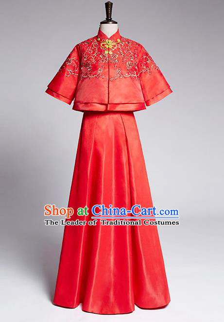 Traditional Ancient Chinese Costume Xiuhe Suits, Chinese Style Wedding Dress Red Restoring Ancient Longfeng Dragon and Phoenix Flown, Bride Toast Cheongsam for Women
