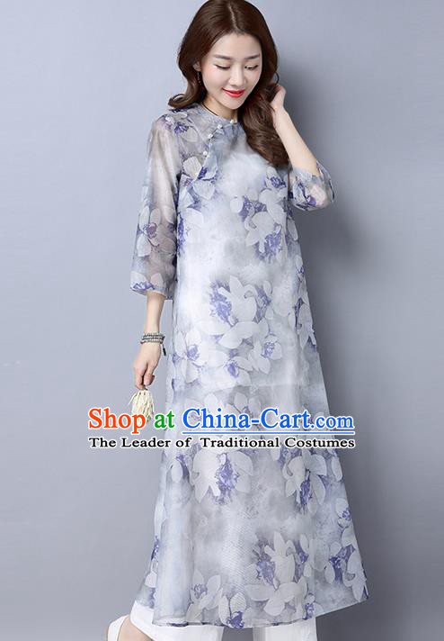 Traditional Chinese National Costume, Elegant Hanfu Mandarin Qipao Printing Slant Opening White Dress, China Tang Suit Plated Buttons Cheongsam Upper Outer Garment Elegant Dress Clothing for Women