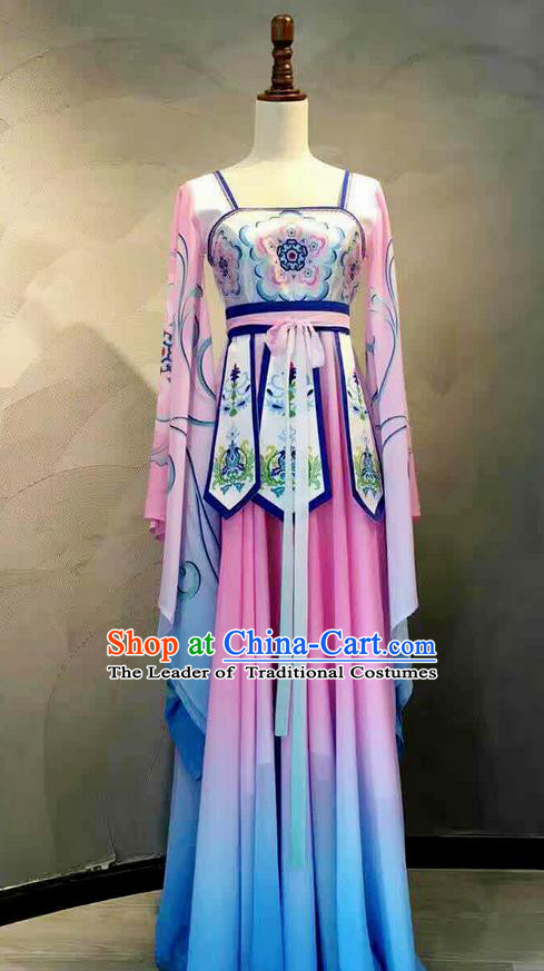 Traditional Chinese Ancient Peking Opera Water Sleeve Dancing Costume, Tang Dynasty Classical Folk Dance Costume Lotus Dance Clothing for Women