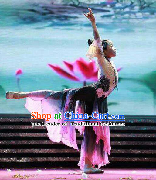 Traditional Chinese Ancient Children Dancing Costume, Tang Dynasty Classical Folk Dance Costume Lotus Dance Clothing for Kids