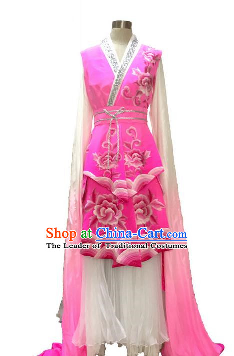 Traditional Chinese Ancient Peking Opera Long Water Sleeve Dancing True Silk Pink Costume, Classical Folk Dance Costume Drum Dance Clothing for Women