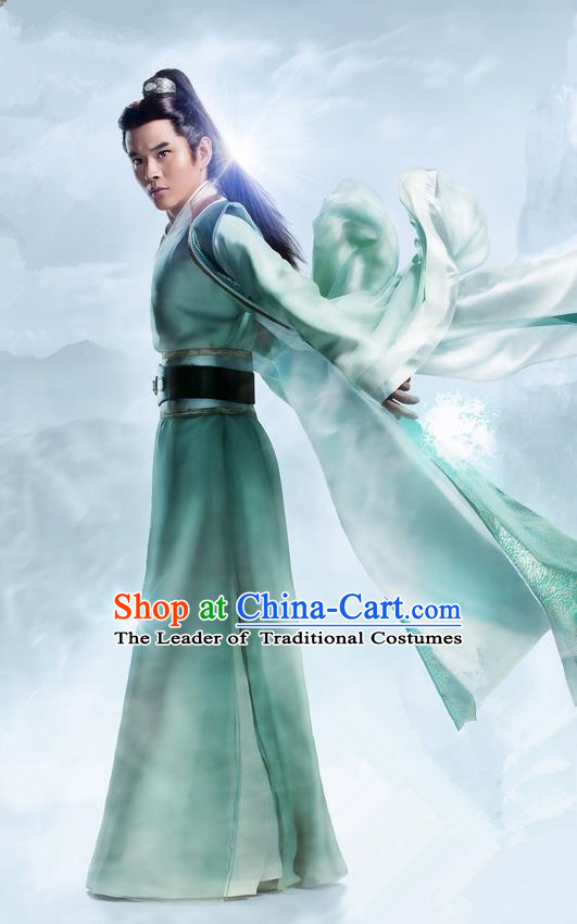 Traditional Ancient Chinese Elegant Swordsman Costume, Chinese Ancient Nobility Childe Dress, Cosplay Chinese Television Drama Flying Daggers Ming Dynasty Chivalrous Expert Hanfu Clothing for Men