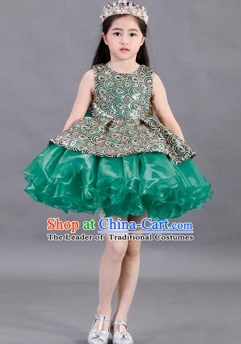 Traditional Chinese Modern Dancing Compere Costume, Children Opening Classic Chorus Singing Group Dance Paillette Uniforms, Modern Dance Classic Dance Green Bubble Dress for Girls Kids