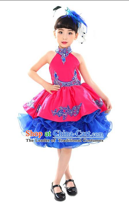 Traditional Chinese Modern Dancing Performance Costume, Children Opening Classic Chorus Singing Group Dance Uniforms, Modern Dance Classic Dance Pink Bubble Dress for Girls Kids