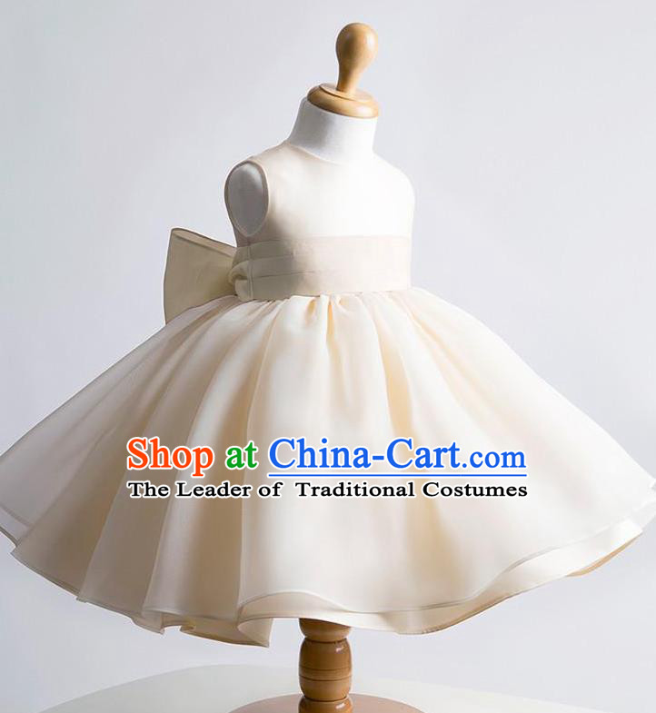 Traditional Chinese Modern Dancing Performance Costume, Children Opening Classic Chorus Singing Group Dance Evening Dress, Modern Dance Classic Dance Bubble Princess Champagne Dress for Girls Kids