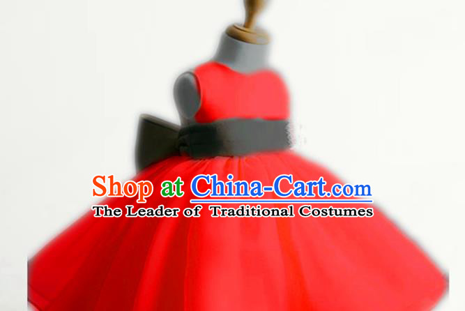 Traditional Chinese Modern Dancing Performance Costume, Children Opening Classic Chorus Singing Group Dance Evening Dress, Modern Dance Classic Dance Bubble Princess Red Dress for Girls Kids