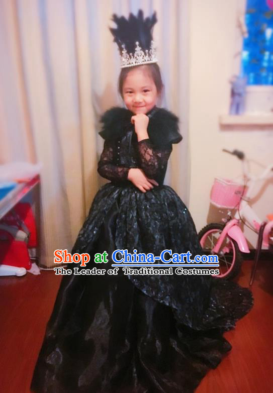 Traditional Chinese Modern Dancing Compere Costume, Children Opening Classic Chorus Singing Group Dance Veil Dress, Modern Dance Classic Dance Black Trailing Dress for Girls Kids