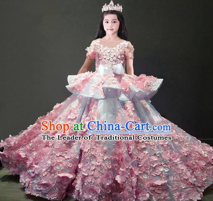 Traditional Chinese Top Grade Modern Dancing Compere Performance Costume, Children Opening Classic Chorus Singing Group Dance Flowers Evening Dress, Modern Dance Classic Dance Green Trailing Dress for Girls Kids