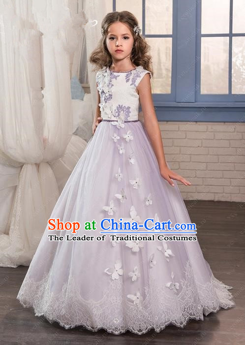Traditional Chinese Modern Dancing Compere Performance Costume, Children Opening Classic Chorus Singing Group Dance Long Butterfly Veil Evening Dress, Modern Dance Classic Dance Bubble Dress for Girls Kids