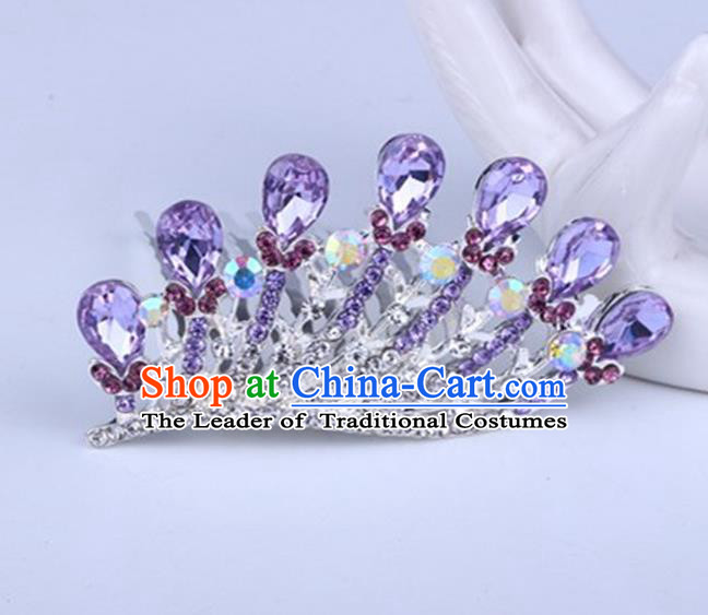 Top Grade Handmade Chinese Classical Hair Accessories, Children Baroque Style Headband Princess Royal Crown Purple Rhinestone Coronet, Hair Sticks Hair Jewellery, Hair Clasp for Kids Girls