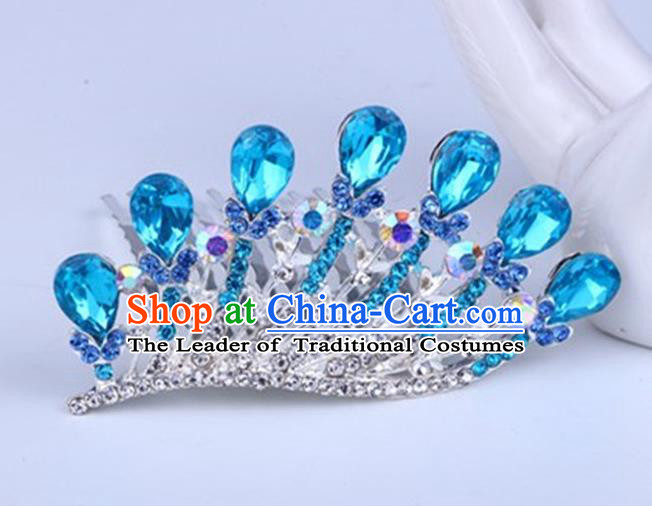 Top Grade Handmade Chinese Classical Hair Accessories, Children Baroque Style Headband Princess Royal Crown Blue Rhinestone Coronet, Hair Sticks Hair Jewellery, Hair Clasp for Kids Girls