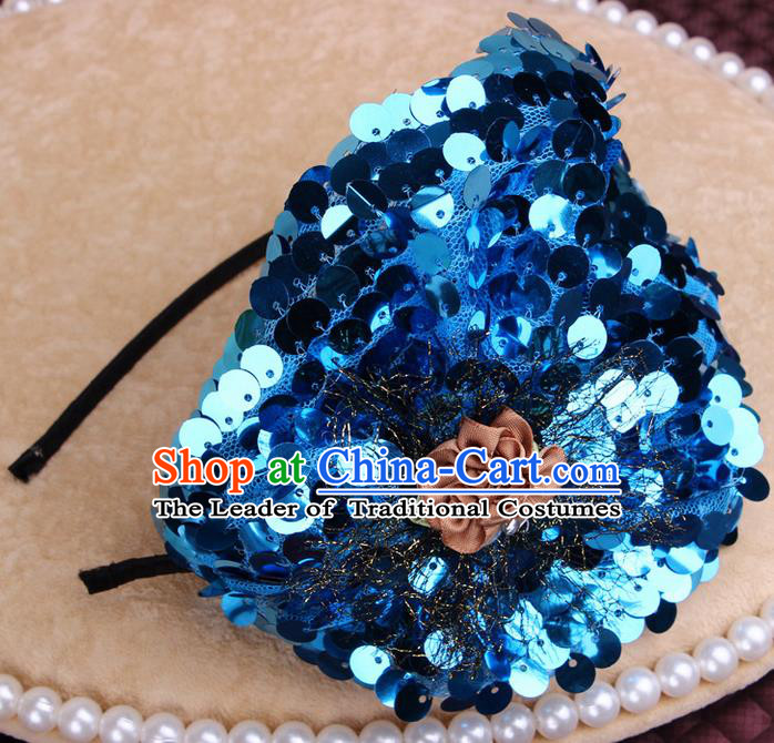 Top Grade Handmade Chinese Classical Hair Accessories, Children Baroque Style Headband Princess Blue Paillette Hair Clasp, Hair Sticks Hair Jewellery for Kids Girls