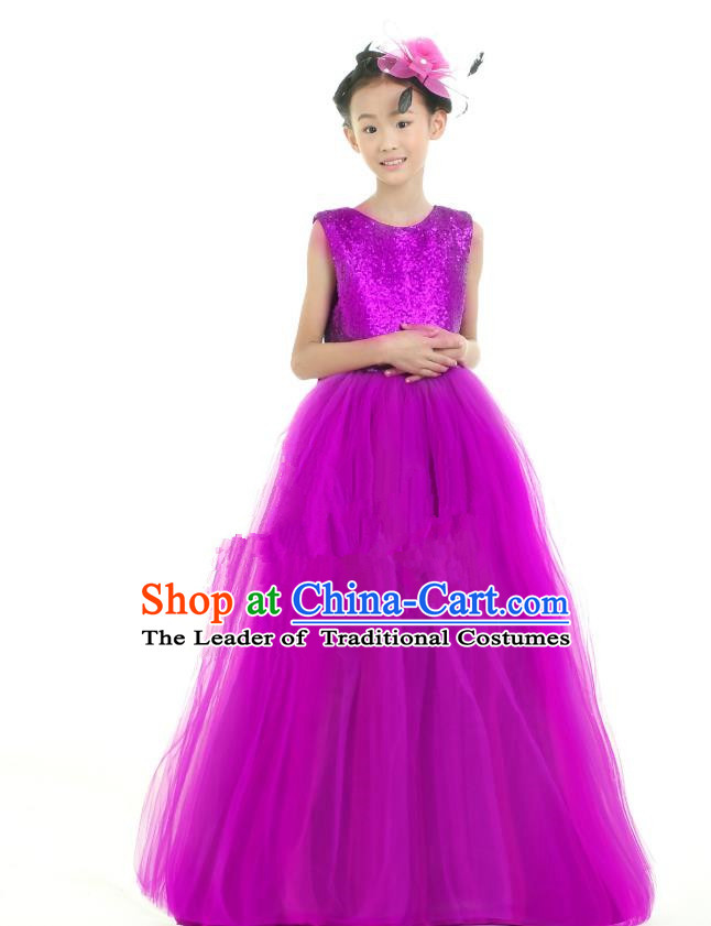 Traditional Chinese Modern Dancing Compere Performance Costume, Children Opening Classic Chorus Singing Group Dance Princess Purple Long Full Dress, Modern Dance Halloween Party Dress for Girls Kids