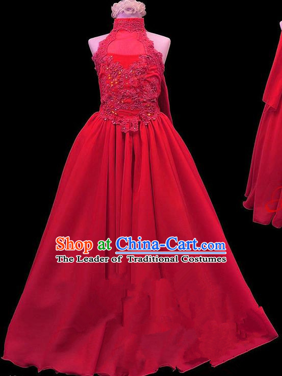 Traditional Chinese Modern Dancing Compere Performance Costume, Children Opening Classic Chorus Singing Group Dance Princess Red Long Full Dress, Modern Dance Halloween Party Dress for Girls Kids