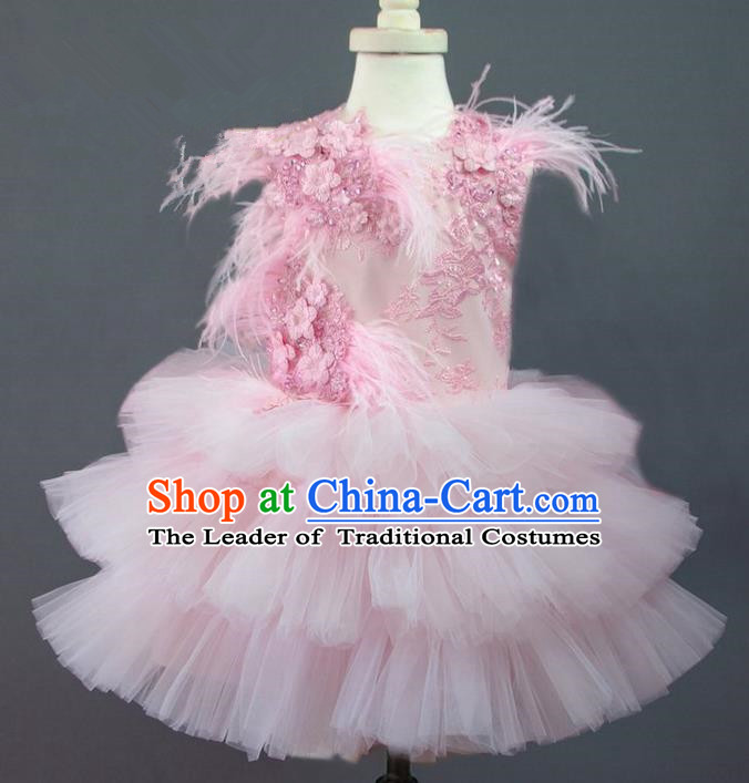 Traditional Chinese Modern Dancing Compere Performance Costume, Children Opening Classic Chorus Singing Group Dance Princess Lace Pink Full Dress, Modern Dance Halloween Party Ballet Dance Dress for Girls Kids