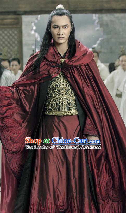 Traditional Ancient Chinese Elegant Swordsman Costume, Chinese Ancient Nobility Warrior General Corselet Dress, Cosplay Chinese Emprise Film Sword Master Chivalrous Expert Chinese Ming Dynasty Kawaler Hanfu Clothing for Men