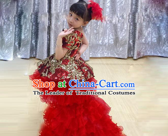 Traditional Chinese Modern Dancing Compere Performance Costume, Children Opening Classic Chorus Singing Group Dance Red Paillette Princess Full Dress, Modern Dance Classic Dance Trailing Dress for Girls Kids