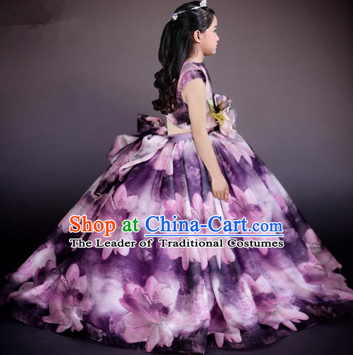 Top Grade Chinese Compere Performance Costume, Children Chorus Singing Group Baby Princess Full Dress Modern Dance Big Swing Long Flowers Dress for Girls Kids