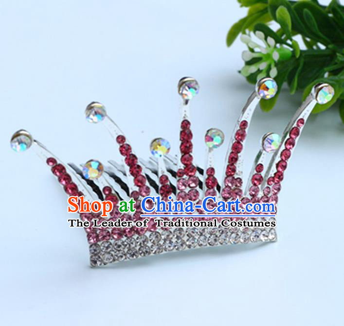 Top Grade Handmade Classical Hair Accessories Hair Comb, Children Baroque Style Crystal Hairpins Rhinestone Princess Pink Royal Crown Hair Jewellery Hair Clasp for Kids Girls