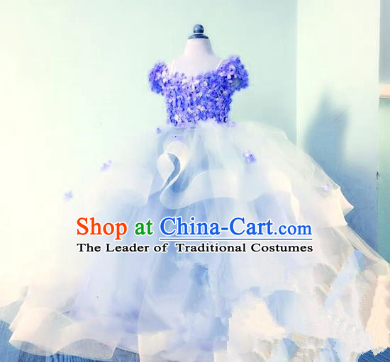 Top Grade Professional Compere Performance Catwalks Costume, Children Chorus Singing Group Baby Princess Flowers Blue Full Dress Modern Dance Trailing Bubble Dress for Girls Kids