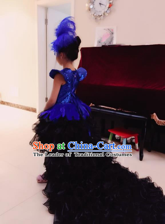 Top Grade Chinese Compere Professional Performance Catwalks Costume, Children Chorus Peacock Feather Formal Dress Modern Dance Little Princess Long Trailing Dress for Girls Kids