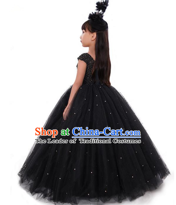 Top Grade Compere Professional Performance Catwalks Costume, Children Chorus Pearl Black Formal Dress Modern Dance Baby Princess Ball Gown Long Dress for Girls Kids