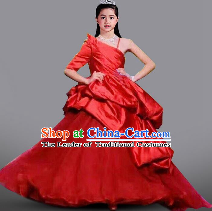 Top Grade Compere Professional Performance Catwalks Costume, Children Chorus Flower Fairy Red Wedding Veil Formal Dress Modern Dance Baby Princess Ball Gown Long Trailing Dress for Girls Kids