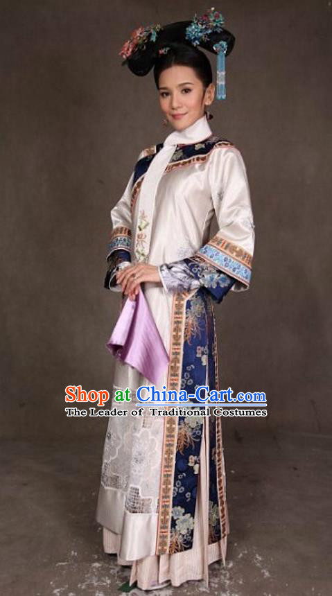Traditional Ancient Chinese Qing Dynasty Senior Concubine Costume and Handmade Headpiece Complete Set, Chinese Zhen Huan Manchu Princess Imperial Consort Clothing for Women