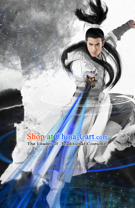 Traditional Ancient Chinese Swordsman Costume, Chinese Ming Dynasty Chivalrous Kawaler Suit, Chinese Television Swords of Legends Knight Prince Hanfu Clothing for Men