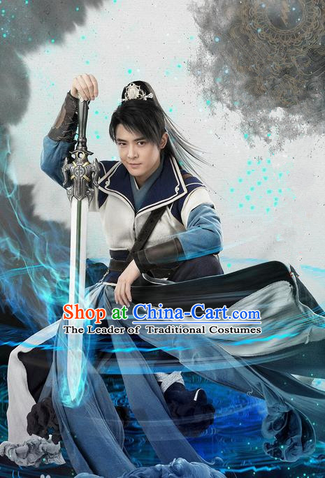 Traditional Chinese Ancient Chivalrous Kawaler Costume, Chinese Ming Dynasty Swordsman Suit, Chinese Television Swords of Legends Knight Clothing for Men