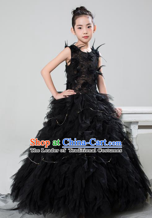 Top Grade Compere Professional Performance Catwalks Costume, Children Chorus Customize Black Feathers Bubble Full Dress Modern Dance Baby Princess Modern Fancywork Long Dress for Girls Kids