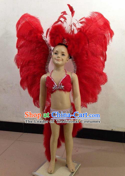 Top Grade Compere Professional Performance Catwalks Swimsuit Costume, Children Chorus Customize Red Feather Full Dress with Wings Modern Dance Baby Princess Modern Fancywork Long Trailing Clothing for Girls Kids