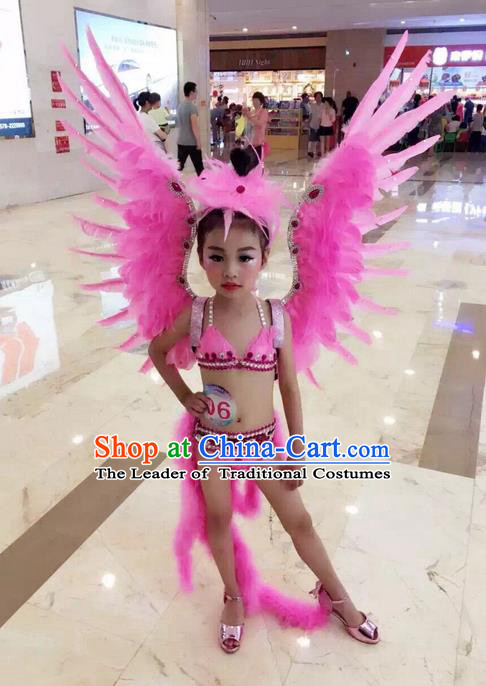 Top Grade Compere Professional Performance Catwalks Swimsuit Costume, Children Chorus Customize Pink Feather Full Dress with Wings Modern Dance Baby Princess Modern Fancywork Long Trailing Clothing for Girls Kids
