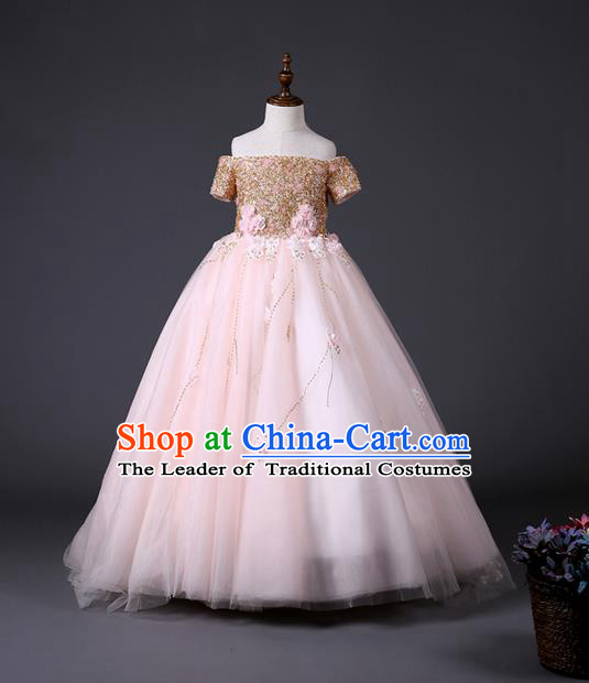 Top Grade Compere Professional Performance Catwalks Costume, Children Chorus Customize Pink Wedding Bubble Full Dress Modern Dance Baby Princess Modern Fancywork Long Dress for Girls Kids
