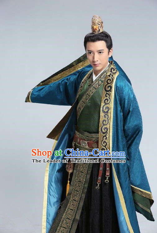 Traditional Chinese Ancient Prince Costume and Headwear Complete Set, Tokgo World China Northern and Southern Dynasties Nobility Childe Hanfu Clothing for Men