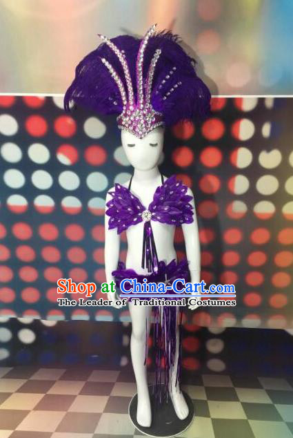 Top Grade Compere Professional Performance Catwalks Swimsuit Costume, Children Chorus Customize Purple Feather Full Dress with Wings Modern Dance Baby Princess Modern Fancywork Long Trailing Clothing for Girls Kids