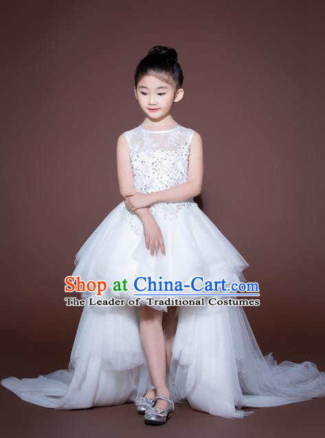 Top Grade Compere Professional Performance Catwalks Swimsuit Costume, Children Chorus Customize White Wedding Veil Full Dress Modern Dance Baby Princess Modern Fancywork Long Trailing Clothing for Girls Kids