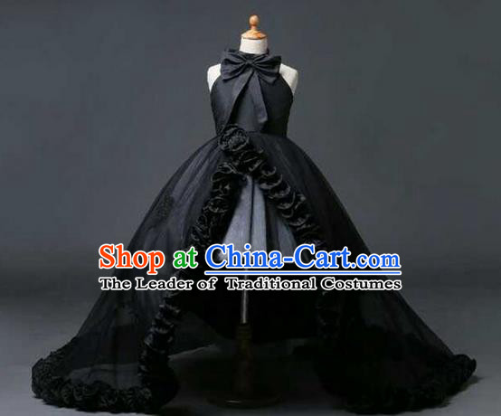 Top Grade Professional Compere Performance Catwalks Customize Feather Costume, Children Chorus Black Bubble Full Dress Modern Dance Modern Fancywork Little Princess Long Trailing Ball Gown for Girls Kids