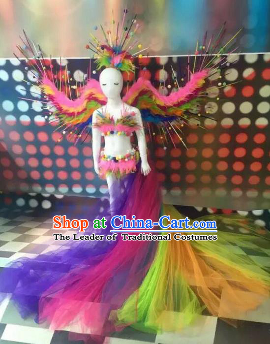 Top Grade Compere Professional Performance Catwalks Swimsuit Bikini Costume, Children Chorus Customize with Peacock Feather Wings Full Dress Modern Dance Baby Princess Modern Fancywork Long Trailing Clothing Complete Set for Girls Kids