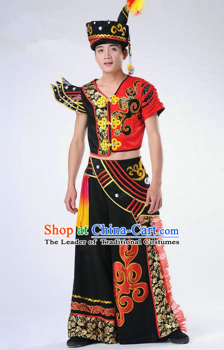 Traditional Chinese Yi Nationality Dancing Costume, Yi Nationality Male Folk Dance Clothing Complete Set, Chinese Yi Minority Nationality Embroidery Costume for Men